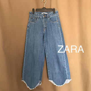 ZARA - ZARA 切りっぱなし ガウチョ ワイドパンツ