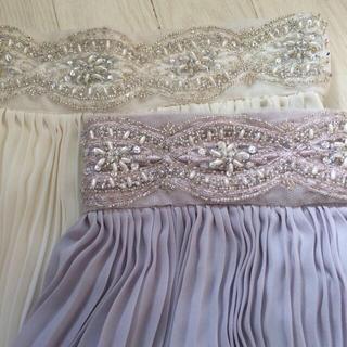 マーキュリーデュオ(MERCURYDUO)のビジュー シフォン フレアスカート 薄紫(ミニスカート)