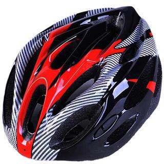サイクリング ヘルメット ロードバイク 自転車 レッド ブラック(ヘルメット/シールド)