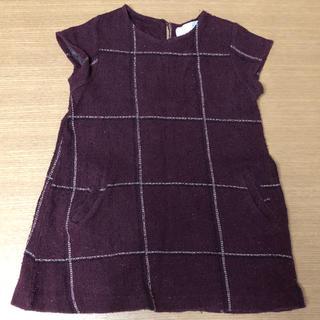 ザラ(ZARA)のzara 女の子 ワンピース 110 キッズ 子供服 チェック 赤 紫(ワンピース)
