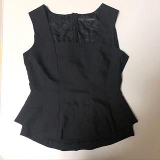 ザラ(ZARA)のZARA ザラ ペプラム ノースリーブ トップス 黒/ブラック サイズL (カットソー(半袖/袖なし))