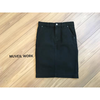 ミュベールワーク(MUVEIL WORK)のMUVEIL WORK バックリボンデニムスカート(ひざ丈スカート)