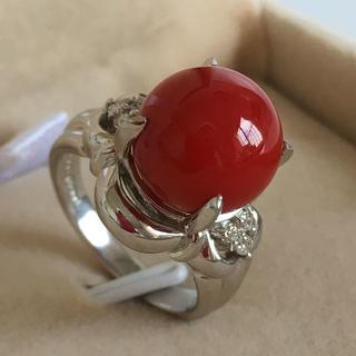 Pt900 天然 赤 珊瑚 丸玉 11mm ダイヤ付きリング 11.5号(リング(指輪))