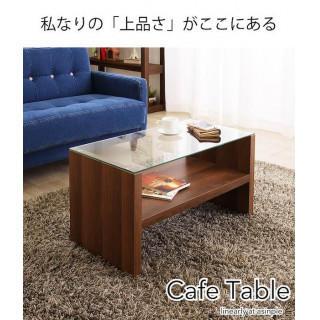 送料無料 カフェテーブル 長方形 リビングテーブル 天然木  ブラウン(コーヒーテーブル/サイドテーブル)