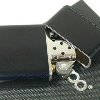ジッポー(ZIPPO)のZippo 革巻き コードバン(無地)皮革レザー 黒(タバコグッズ)
