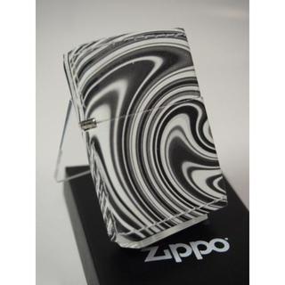 ジッポー(ZIPPO)の絶版 Zippo 革巻き マーブルブラック 渦巻 白黒(タバコグッズ)