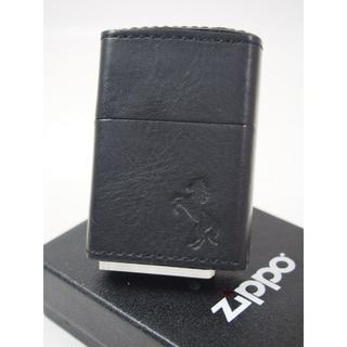 ジッポー(ZIPPO)のZippo 革巻き レザーホース うま(馬)ブラック 黒 BK(タバコグッズ)