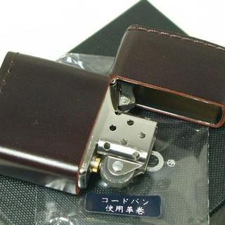 ジッポー(ZIPPO)のZippo 革巻き コードバン(無地)皮革レザー 茶(タバコグッズ)