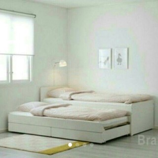 イケア(IKEA)のIKEA アンダー ベッド  収納 ホワイト(シングルベッド)