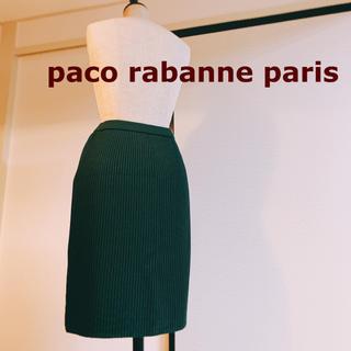 パコラバンヌ(paco rabanne)の9802 高級 paco rabanne paris 膝丈スカート 深緑 ニット(ひざ丈スカート)