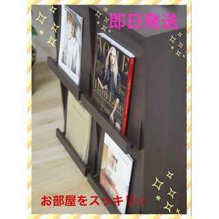 【新品】☆お洒落に☆ディスプレイラック4マス幅80cmブラウン(本収納)