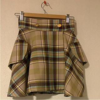 ヴィヴィアンウエストウッド(Vivienne Westwood)のロキャロン社 ブラウンマックマラタータン ライディングスカート(ひざ丈スカート)