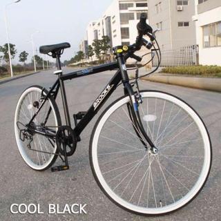 【LEDライト&鍵セット】 ギア6段速 クロスバイク ブラック(自転車本体)