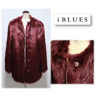 イブルース(IBLUES)の新品【イブルース】ノーカラー 毛皮フェイクファーコート 42(M-L 11号(毛皮/ファーコート)