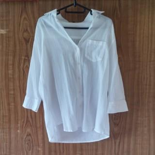 ディーエイチシー(DHC)の👚DHC*コットンガーゼ ライトシャツ/白/9号(シャツ/ブラウス(長袖/七分))