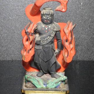 不動明王像 木彫 仏教美術 江戸時代 骨董 旧家蔵出し(彫刻/オブジェ)