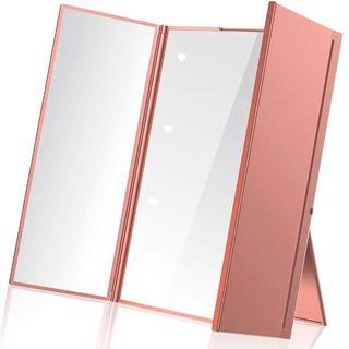 AYO 鏡 卓上 スタンドミラー 三面鏡 化粧鏡 メイクミラー折りたたみ式 コン(スタンドミラー)