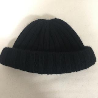 カシラ(CA4LA)のCA4LA ニット帽 ロールキャップ 浅ニット ブラック(ニット帽/ビーニー)