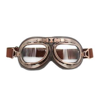 バイク ゴーグル ヴィンテージ ブロンズ 曇り止め 耐衝撃レンズ 透明 g8(ヘルメット/シールド)