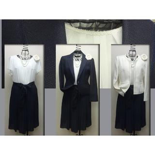 【新品】大きい 13号紺ラメJK×ベージュJK×OP 結婚式・入卒等に!2150(スーツ)