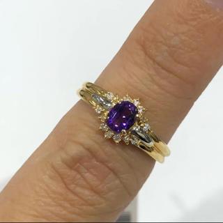 K18 アメジスト ダイヤモンド リング(リング(指輪))