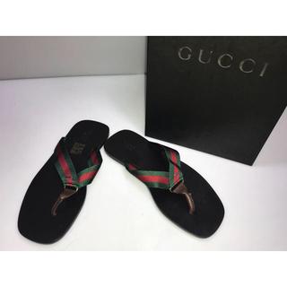 グッチ(Gucci)の新品箱付◆グッチビーチサンダルローヒール赤x緑グッチカラー34.5 21.5cm(サンダル)