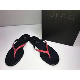 グッチ(Gucci)の新品箱付◆GUCCIグッチ◆サンダルビーチサンダルローヒール赤x黒35C22cm(サンダル)
