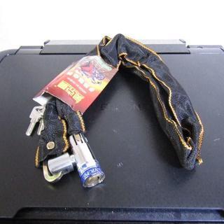バイク 自転車用 チェーンロック 鍵2本付属 傷付防止 チェーン長約100cm(その他)