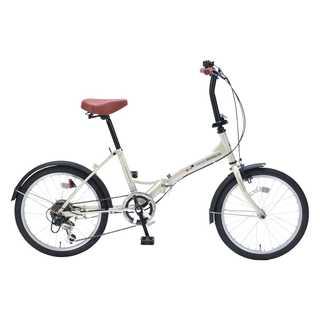 190.折りたたみ自転車 20インチ 6段変速 アイボリー(自転車本体)
