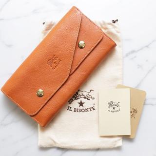 イルビゾンテ(IL BISONTE)の新品 イルビゾンテ 二つ折り 財布 ヤキヌメ Wフラップ レザー 長財布 大容量(財布)