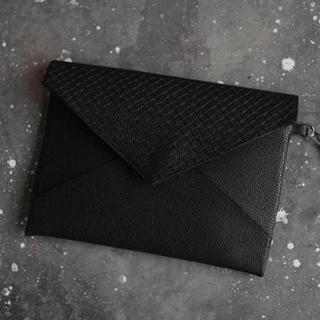 メンズ クラッチ バッグ レザー (封筒型 ブラック, レザー)(その他)