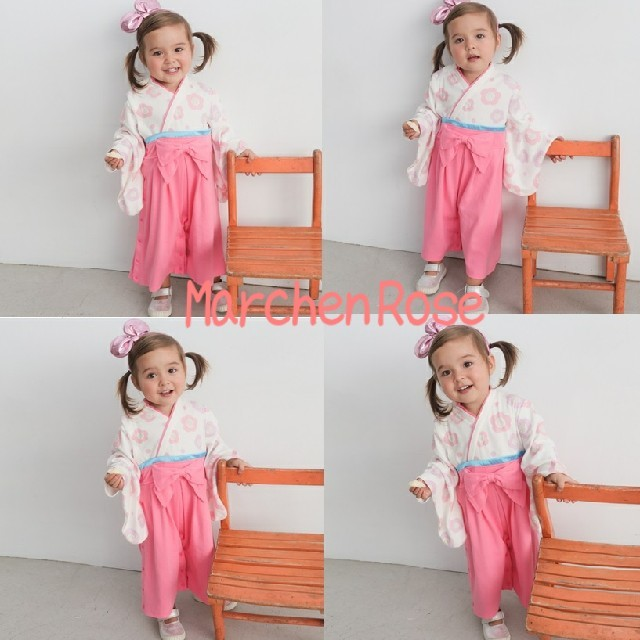 ♡袴ロンパース♡足袋風靴下セット♡80センチ♡ピンク♡女の子♡ キッズ/ベビー/マタニティのベビー服(~85cm)(和服/着物)の商品写真