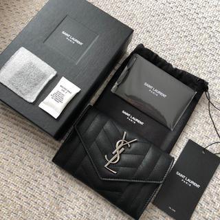 新品!SAINT LAURENT モノグラムフラップミニウォレット ブラック
