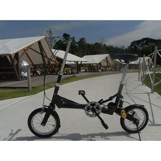 【専用キャスターバッグ付】◆14インチ折りたたみ自転車◆ブラック(自転車本体)
