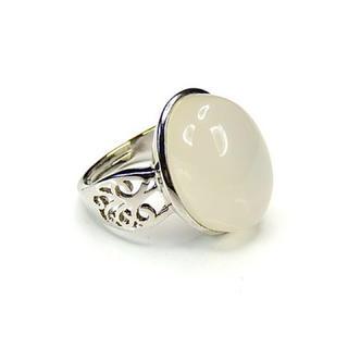 ミルキーホワイトオニキス指輪リング天然石約18号石街U0123(リング(指輪))