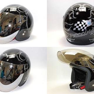 ミラーシールド付き猫ちゃんJL-65SRメタリックSVヘルメット!ネームOK!(ヘルメット/シールド)