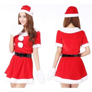 【毎年№1売上♪】 レディース サンタ コスプレ コス 手袋付き(衣装一式)