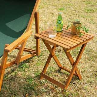 ☆ 新品 ☆折りたたみ サイドテーブル 35cm×35cm ナチュラル(アウトドアテーブル)