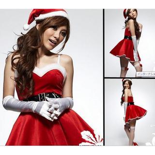 クリスマス パーティ コスプレ 帽子付き サンタコス(衣装一式)