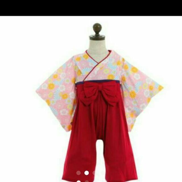 袴ロンパース70,足袋風靴下 9-15㎝、ヘアバンド 三点セット キッズ/ベビー/マタニティのベビー服(~85cm)(和服/着物)の商品写真