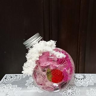 ハーバリウム ネコ瓶 ピンク(その他)