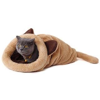 【送料無料!】人気♡猫用 小型犬用 寝袋 ポケット 薄茶 ブラウン(猫)