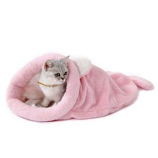 【送料無料!】人気♡猫用 小型犬用 寝袋 ポケット ピンク(猫)