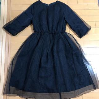 オキラク(OKIRAKU)のOKIRAKU ワンピース ネイビー ドレス 結婚式 披露宴 お呼ばれ 送料込み(ひざ丈ワンピース)