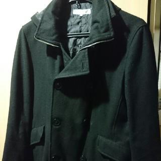 メンズ黒色ジャケット(ノーカラージャケット)