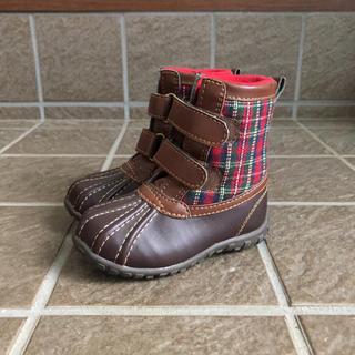 ベビーギャップ(babyGAP)の【美品】Baby GAP ギャップ ブーツ サイズ6(14.4cm)茶×チェック(ブーツ)