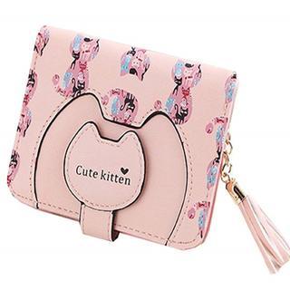 送料無料☆レディース ミニ 二つ折り 可愛い 猫柄 小銭 カード 財布(コインケース)