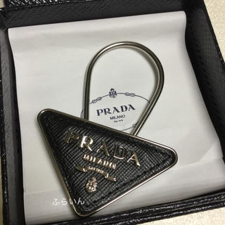 プラダ(PRADA)の新品!プラダ キーリング キーホルダー 三角ロゴ レザー ブラック(キーホルダー)