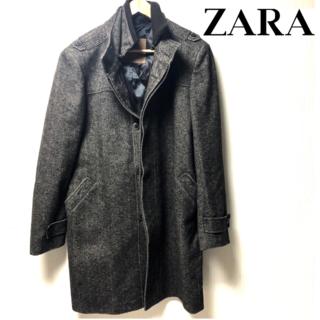ZARA ジップ ロングコート メンズ LL(ステンカラーコート)
