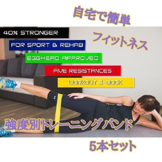自宅で体幹トレーニング♪ 強度別トレーニングバンド 5本セット(トレーニング用品)